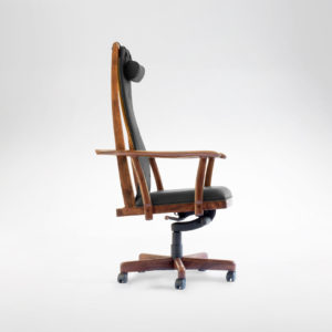 Side view of our custom upholstered office chair, The McCorkle Chair