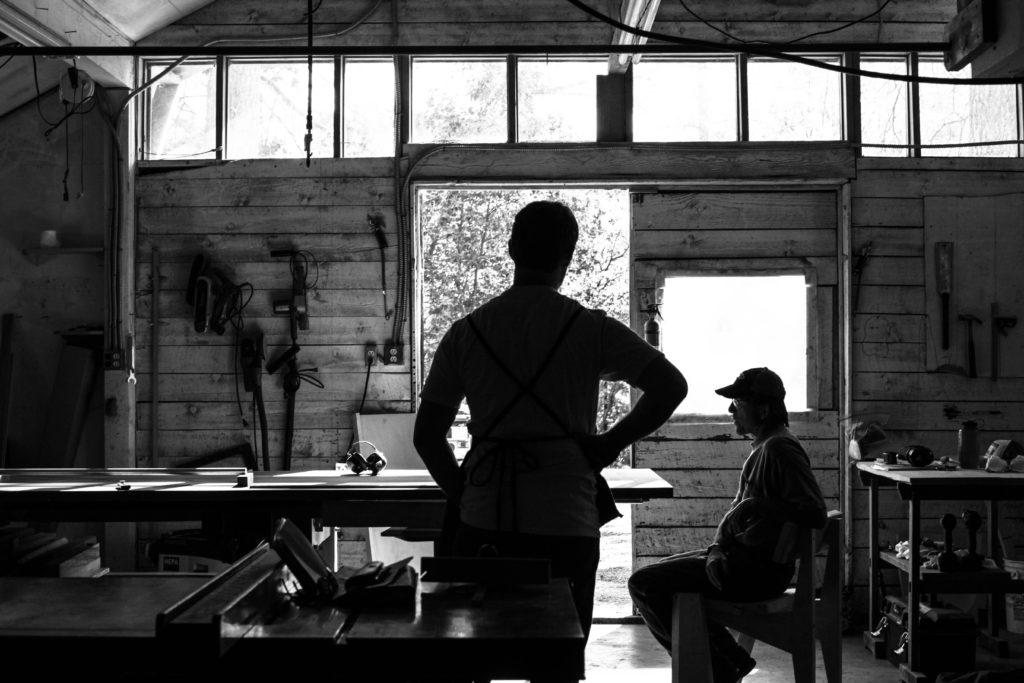Robert & Tor Erickson discuss woodworking & custom chair designs in their woodshop.