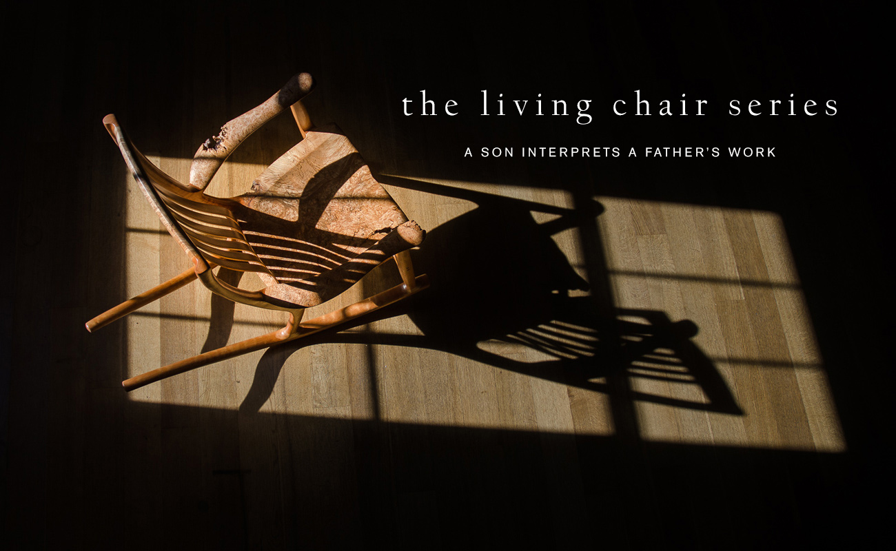 The Living Chair Series of live edge custom wood chairs