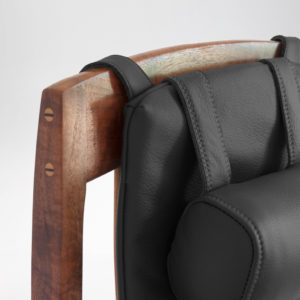 Front view of the custom upholstery hand-sewn for the custom McCorkle Chair