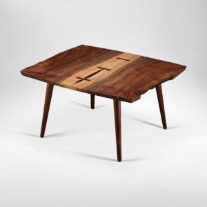 Soojian California walnut live edge coffee table