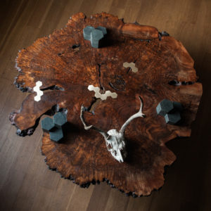 Top view of the live edge Columnar Coffee Table