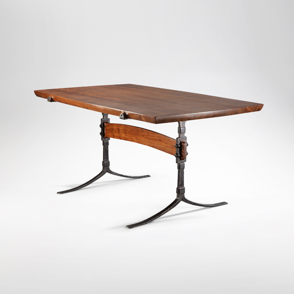 Side angle view of our hand-crafted Sandhill Table w/ hand-forged iron legs
