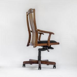 Side angle view of Niobrara handmade office chair