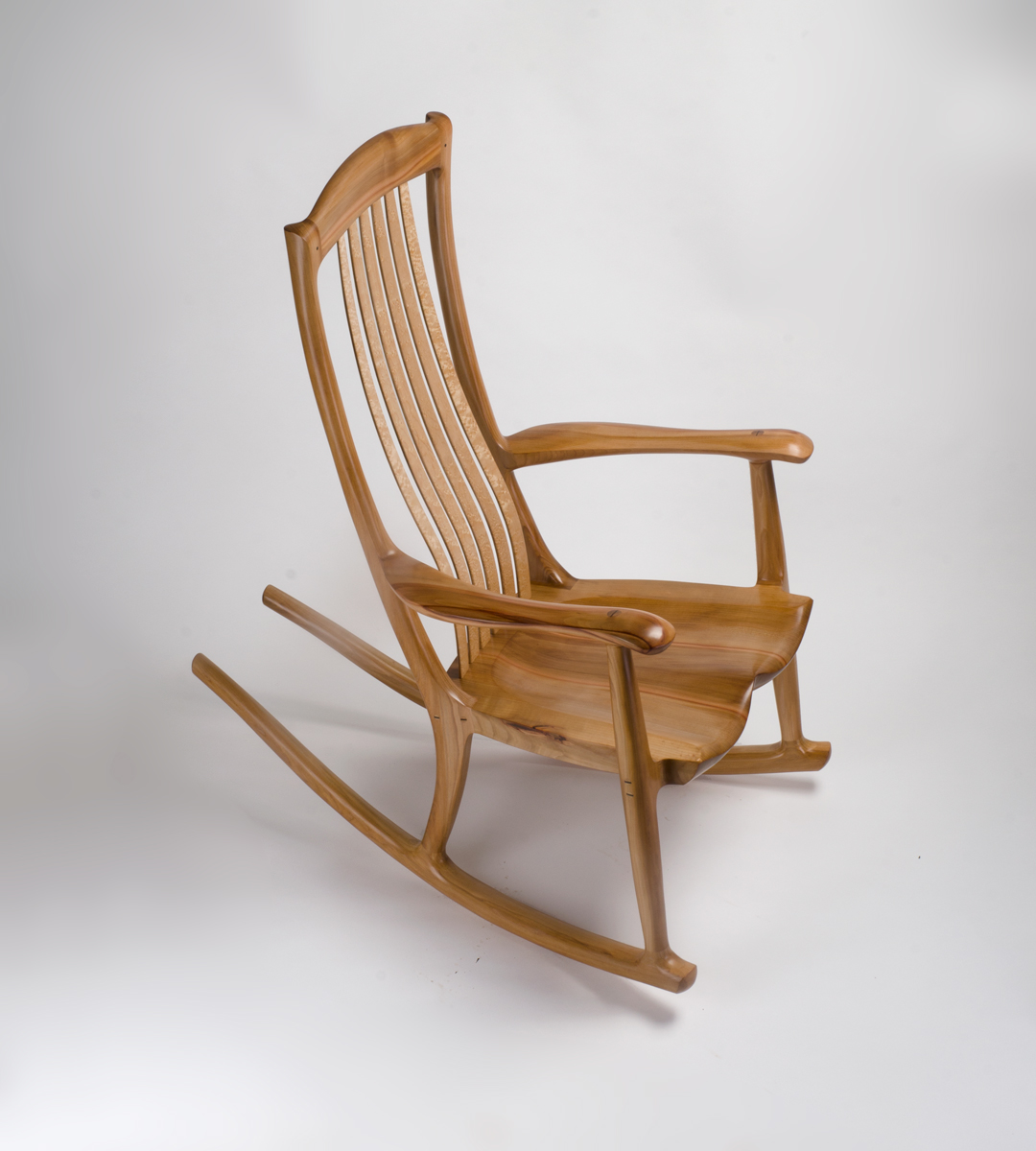 Our custom handmade rocking chair, The South Yuba Rocking Chair, in Pacific Madrone
