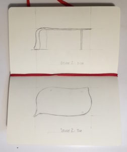 Robert Erickson's hand-sketched designs for our custom coffee table w/ Holly Tornheim, The Kvalheim Coffee Table