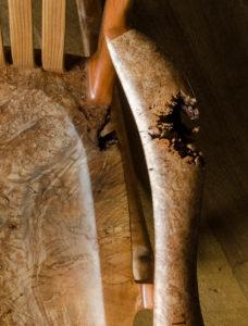 Live edge armrest on Tor Erickson's custom South Yuba Rocking Chair in The Living Chair Series