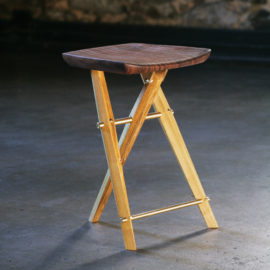 Handmade Langhorne Camp Stool made from black locust and claro walnut