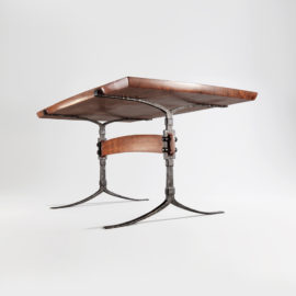 Underside angle view of the Sandhill Table w/ hand-forged iron