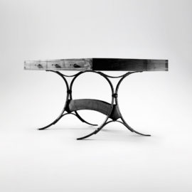 Walnut and hand-forged iron Iron & Wood Desk