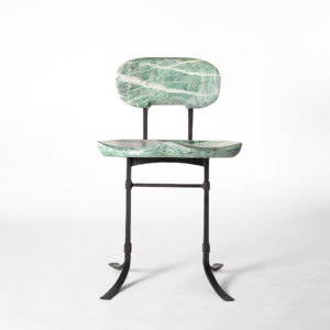 Our custom Sandhill Chair in Mariposite w/ hand-forged iron base