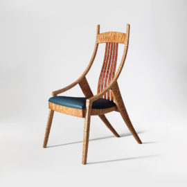 Front angle view of the custom Elrod Chair side chair