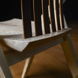 Rear angle view of the handmade Reyes Dining Chair