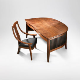 Savik custom California walnut office desk