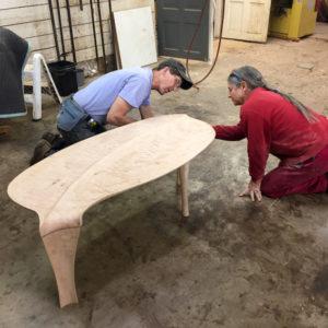 Holly Tornheim & Robert Erickson working our custom coffee table, The Kvalheim Coffee Table