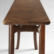 Side view of the hand-carved collaborative Lazzaro End Table created w/ Lawrence Lazzaro