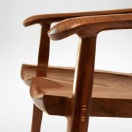 Close up view of the seat and armrests on the handmade South Yuba Arm Chair