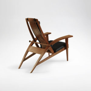 Rear angle shot of the custom handcrafted Martinez Recliner with hand sewn upholstery