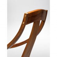 Rear view of our handcrafted Van Muyden Arm Chair w hand-turned grommets