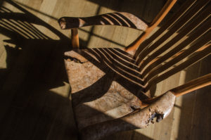 Tor Erickson's handcrafted South Yuba Side Chair in The Living Chair Series featuring live edge chairs