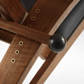 Close-up of handmade adjustment lever to adjust the back on the Martinez Recliner