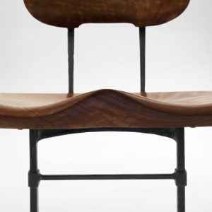 Close-up front view of Sandhill Chair custom wooden seat