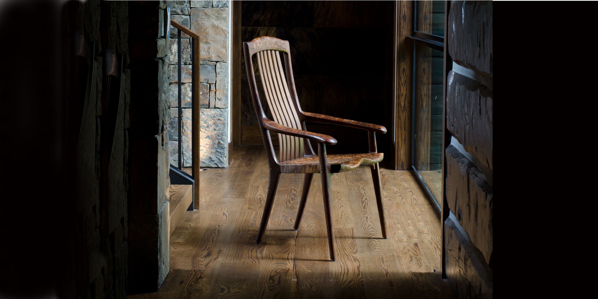 Indoor setting for our handmade occasional arm chair version of the South Yuba Rocking Chair