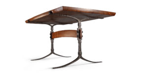 Our custom handmade Sandhill Table w/ hand-forged iron