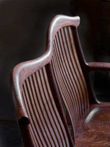 Angle view of the back detail on our handmade settee, the St. Paul Settee