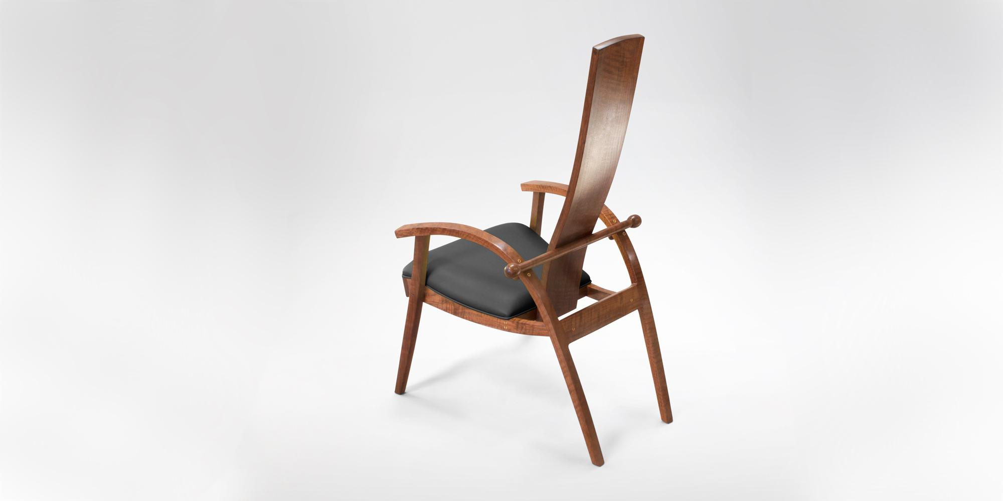 Rear View of the handmade Tashjian Chair w/ hand-sewn upholstery