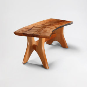 Custom Pacific Madrone bench w/ live edge detail and red streak