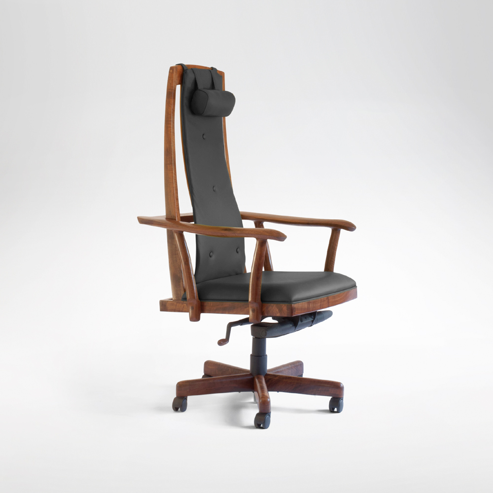 Side angle view of the McCorkle handmade desk chair