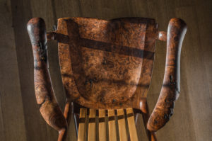 Handmade South Yuba Rocking Chair in Red Elm with live edge design