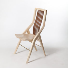 Front angle view of custom dining Reyes Chair