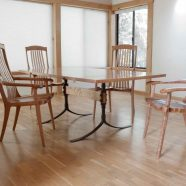 Our custom Sandhill Table set for dining or business purposes w/ custom side chairs