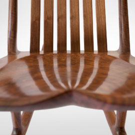 Hand-polished seat on the handmade South Yuba Rocking Chair
