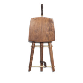 Folded view of the handmade Langhorne artist's stool