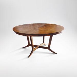 Murdock California walnut round dining table
