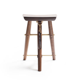Front view of the custom handmade Langhorne Stool