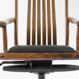 Front view of our handmade Niobrara Office Chair w/ custom upholstery