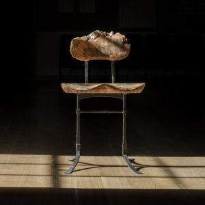 Custom handmade live edge chair with hand-forged iron