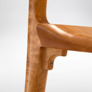 Our custom Poonkinny Chair wooden connection between the legs and the seat