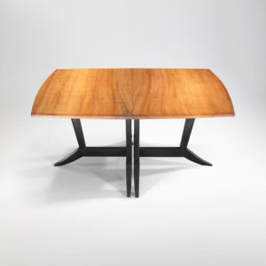 The Mirembe Table is handcrafted from Pacific Madrone w/ Ebonized Legs