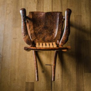 Handmade live edge South Yuba Rocking Chair crafted from California Walnut by Tor Erickson for The Living Chair Series