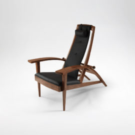 Front angle view of handmade Martinez Recliner w/ handcrafted upholstery