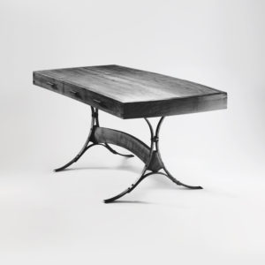 Our custom handcrafted Iron & Wood Desk w/ hand-forged iron base