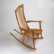 Our custom South Yuba rocking chair handcrafted in Pacific Madrone