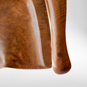 Close-up view of the armrest on our handmade rocker South Yuba Rocking Chair