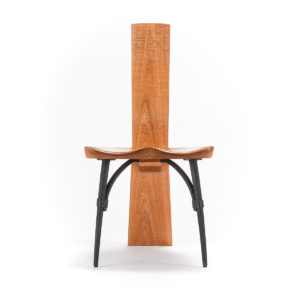 Front view of the Salin Side Chair w/ hand-forged steel front legs