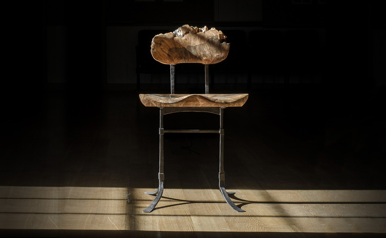 Live edge burl on our custom handmade Sandhill Side Chair w/ hand-forged iron